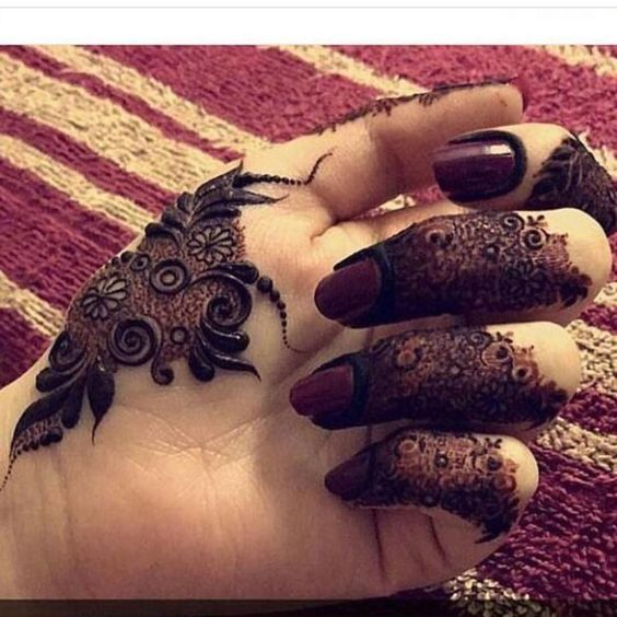 Simple Mehndi Designs in Fingers
