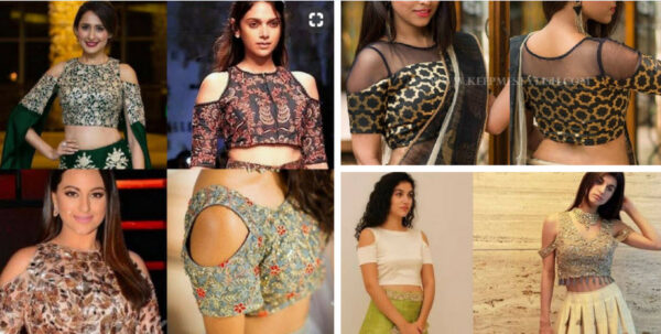 Cold Shoulder Blouse Designs for Saree and Lehenga 2021