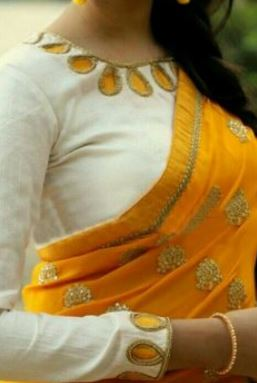 yellow blouse designs