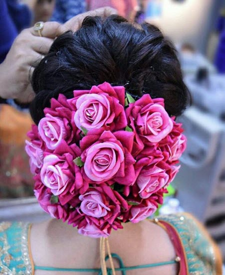 bun hairstyles with flowers