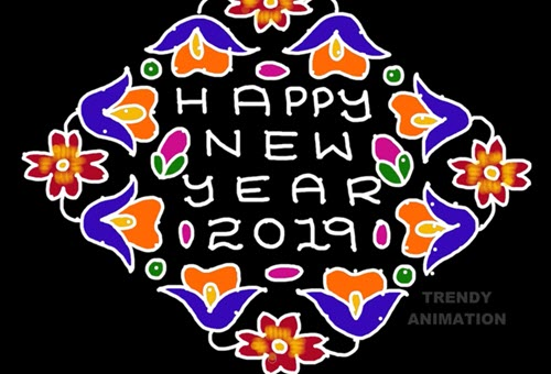 new year rangoli designs with flower