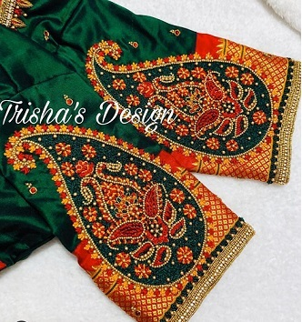 green and red paithani blouse design