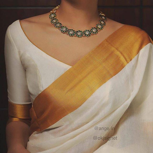 Simple blouse design for kasavu saree